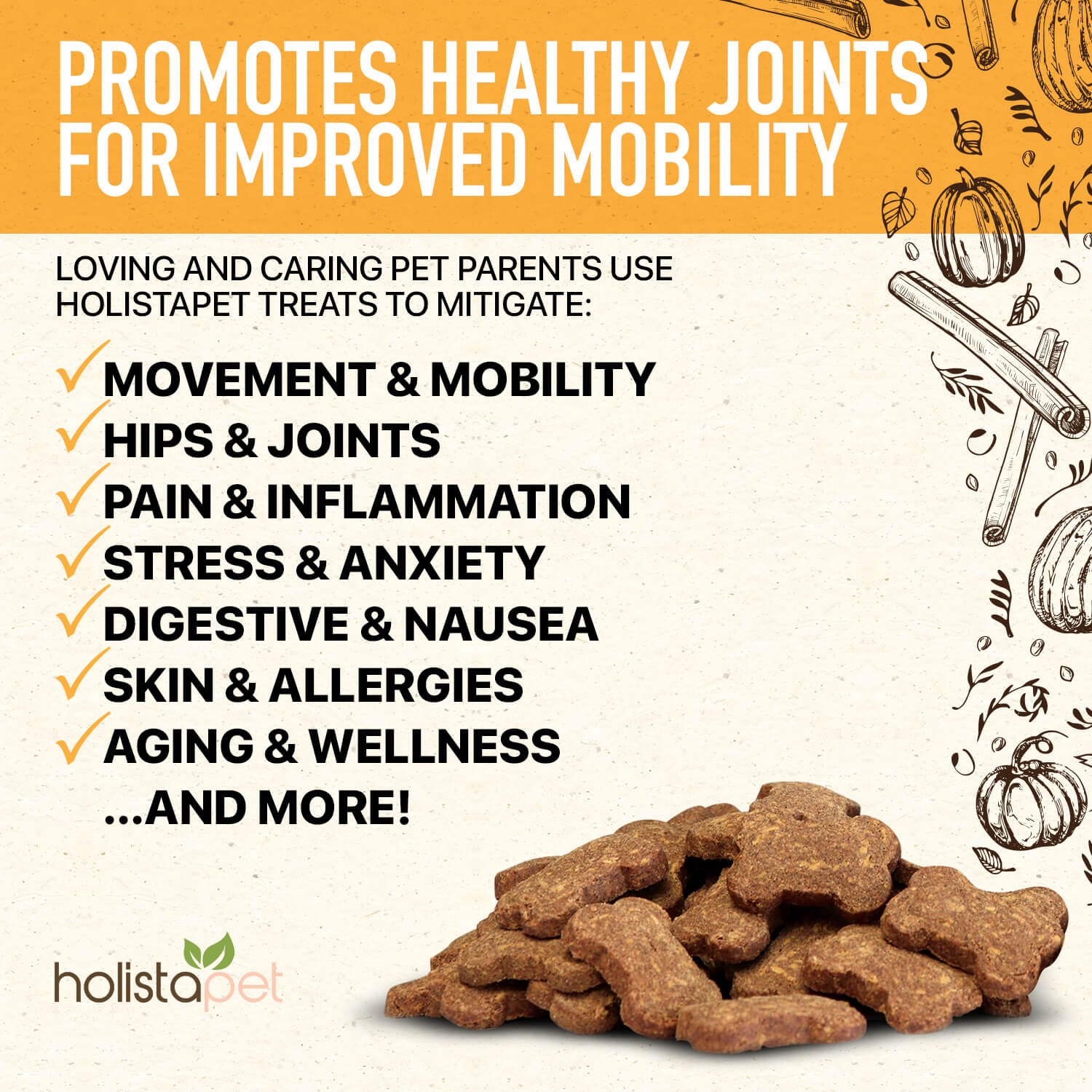 Holistapet Hemp Joint And Mobility Care Dog Treats Promotes Movement And Mobility Hips And Joints Pain And Inflammation Stress And Anxiety Digestive Wellnes And More