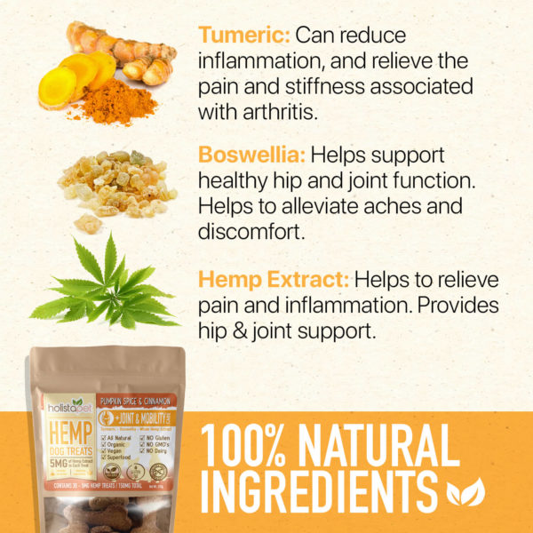 100% natural ingredients used for holistapet hemp dog treats for joint and mobility tumeric boswellia hemp extract