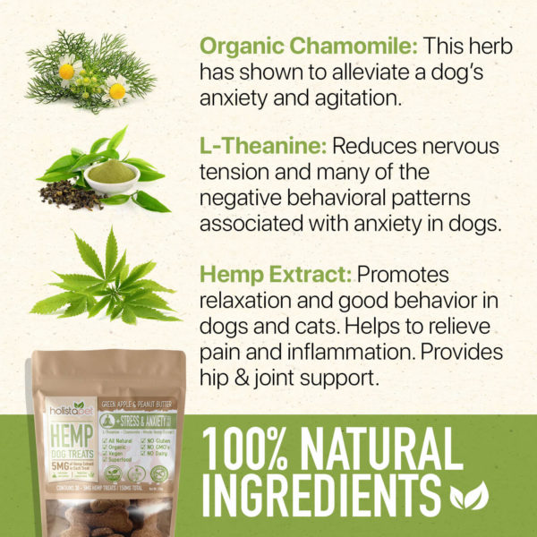 100% Natural Ingredients organic chamomile L theanine hemp extract Holistapet green apple peanut butter